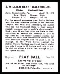 1941 Play Ball Reprint #3  Bucky Walters  Back Thumbnail