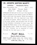 1941 Play Ball Reprint #28  Joe Marty  Back Thumbnail