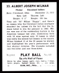 1941 Play Ball Reprint #33  Al Milnar  Back Thumbnail