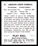 1941 Play Ball Reprint #51  Dolph Camilli  Back Thumbnail