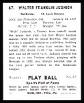1941 Play Ball Reprint #67  Walter Judnich  Back Thumbnail