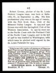 1915 Cracker Jack Reprint #46  Bob Groom  Back Thumbnail