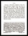 1915 Cracker Jack Reprint #114  Geo.J. Moriarty  Back Thumbnail