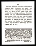 1915 Cracker Jack Reprint #59  Harry Gessler  Back Thumbnail