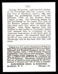 1915 Cracker Jack Reprint #152  George McQuillen  Back Thumbnail