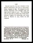 1915 Cracker Jack Reprint #149  Hal Janvrin  Back Thumbnail