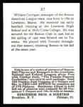 1915 Cracker Jack Reprint #27  Bill Carrigan  Back Thumbnail