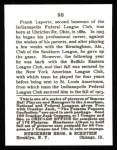 1915 Cracker Jack Reprint #98  Frank LaPorte  Back Thumbnail