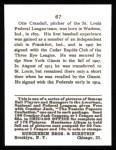 1915 Cracker Jack Reprint #67  Doc Crandall  Back Thumbnail
