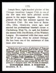 1915 Cracker Jack Reprint #175  Joseph Benz  Back Thumbnail