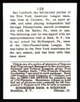 1915 Cracker Jack Reprint #129  Ray Caldwell  Back Thumbnail
