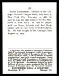 1915 Cracker Jack Reprint #21  Heinie Zimmerman  Back Thumbnail