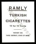 1909 T204 Ramly Reprint #39  Bill Donovan  Back Thumbnail