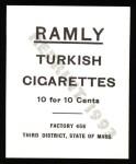 1909 T204 Ramly Reprint #53  Roy Hartzell  Back Thumbnail