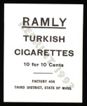 1909 T204 Ramly Reprint #53  Roy Hartzell  Back Thumbnail