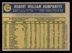 1970 O-Pee-Chee #538  Bob Humphreys  Back Thumbnail