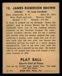 1941 Play Ball #12  Jimmy Brown  Back Thumbnail
