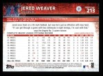 2015 Topps #213  Jered Weaver  Back Thumbnail