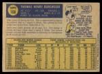 1970 O-Pee-Chee #108  Tom Burgmeier  Back Thumbnail
