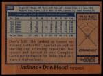 1978 Topps #398  Don Hood  Back Thumbnail