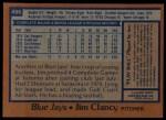 1978 Topps #496  Jim Clancy  Back Thumbnail