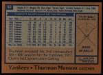 1978 Topps #60  Thurman Munson  Back Thumbnail