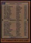 1978 Topps #207   -  John Candelaria / Frank Tanana ERA Leaders  Back Thumbnail