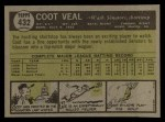 1961 Topps #432  Coot Veal  Back Thumbnail