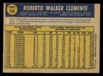 1970 O-Pee-Chee #350  Roberto Clemente  Back Thumbnail