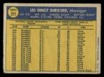1970 O-Pee-Chee #291  Leo Durocher  Back Thumbnail
