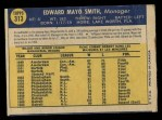 1970 O-Pee-Chee #313  Mayo Smith  Back Thumbnail