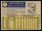 1970 O-Pee-Chee #4  Tom Egan  Back Thumbnail