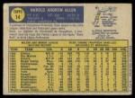 1970 O-Pee-Chee #14  Hank Allen  Back Thumbnail