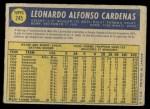 1970 O-Pee-Chee #245  Leo 'Chico' Cardenas  Back Thumbnail