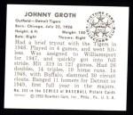 1950 Bowman REPRINT #243  Johnny Groth  Back Thumbnail