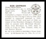 1950 Bowman REPRINT #192  Bob Chipman  Back Thumbnail