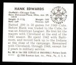 1950 Bowman REPRINT #169  Hank Edwards  Back Thumbnail