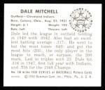 1950 Bowman REPRINT #130  Dale Mitchell  Back Thumbnail