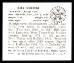 1950 Bowman REPRINT #230  Bill Serena  Back Thumbnail