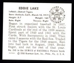1950 Bowman REPRINT #240  Eddie Lake  Back Thumbnail