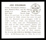 1950 Bowman REPRINT #141  Joe Coleman  Back Thumbnail