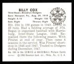 1950 Bowman REPRINT #194  Billy Cox  Back Thumbnail