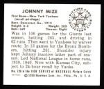 1950 Bowman REPRINT #139  Johnny Mize  Back Thumbnail