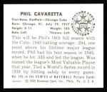 1950 Bowman REPRINT #195  Phil Cavarretta  Back Thumbnail
