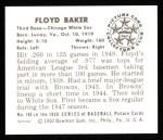 1950 Bowman REPRINT #146  Floyd Baker  Back Thumbnail