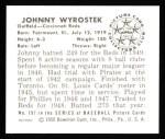 1950 Bowman REPRINT #197  Johnny Wyrostek  Back Thumbnail