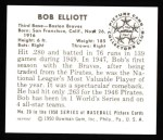 1950 Bowman REPRINT #20  Bob Elliott  Back Thumbnail