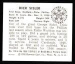1950 Bowman REPRINT #119  Dick Sisler  Back Thumbnail