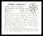 1950 Bowman REPRINT #10  Tommy Henrich  Back Thumbnail