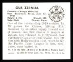 1950 Bowman REPRINT #4  Gus Zernial  Back Thumbnail
